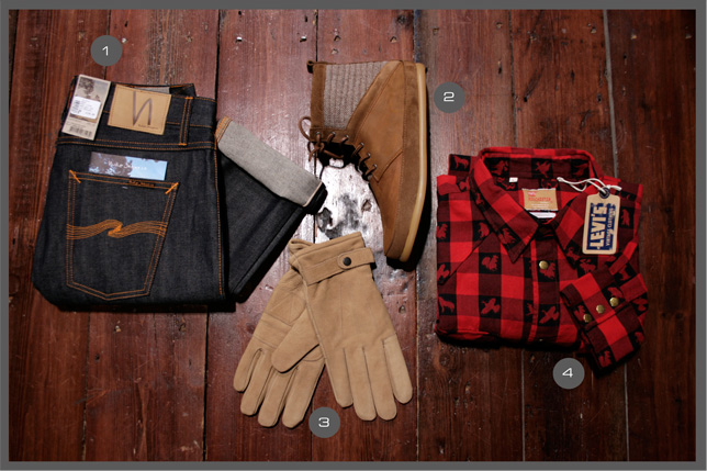 Selection 1 - Nudie Jeans - Volta Footwear - Levis Vintage - Barbour Gloves