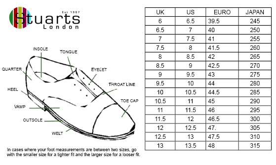 Veras shoes size guide