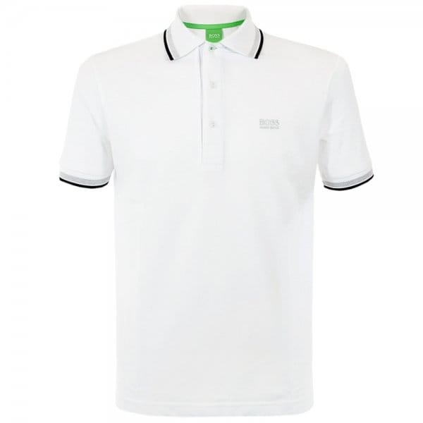 Image of Hugo Boss Green Paddy White Polo Shirt 50198254