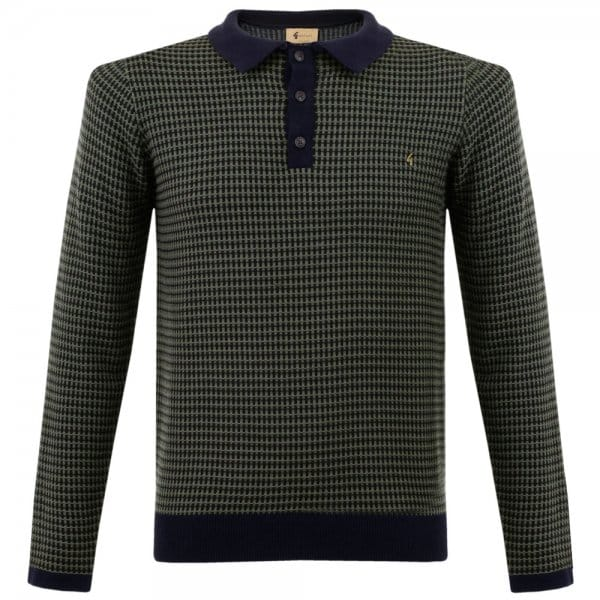 Gabicci Patterned Knit Navy Polo Shirt V35GM06