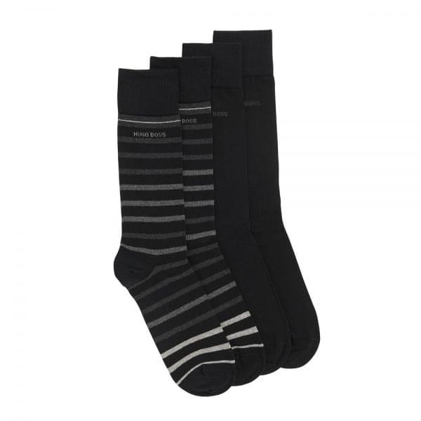 Hugo Boss Double Pack Striped Black Socks 50308097