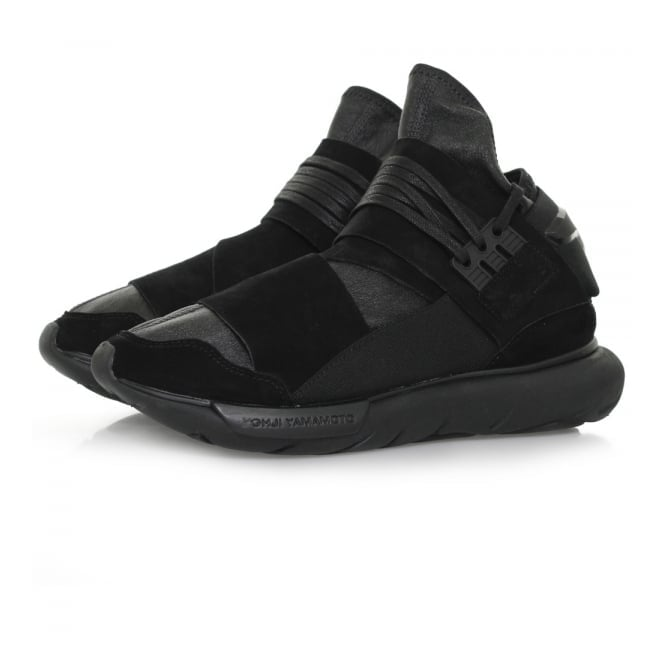 Adidas Y-3 Adidas Y-3 Qasa High Black Leather Shoe BB4733