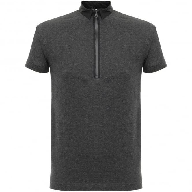 Adidas Y-3 Adidas Y-3 Zip Charcoal Melange Polo Shirt B47575
