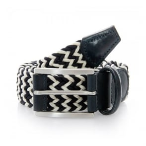 Anderson Belts Woven White Navy Belt 00667-B8N