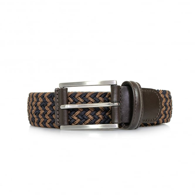 Anderson's Belts Anderson Braided Woven Brown Blue Belt AF3689 BM