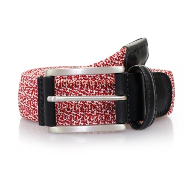 Anderson's Belts Anderson's Red Leather Trimmed Elasticated Woven Belt