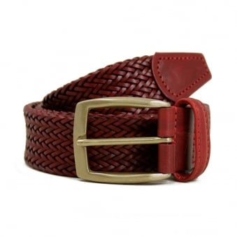 Anderson's Thin Dark Red Leather Belt A1716