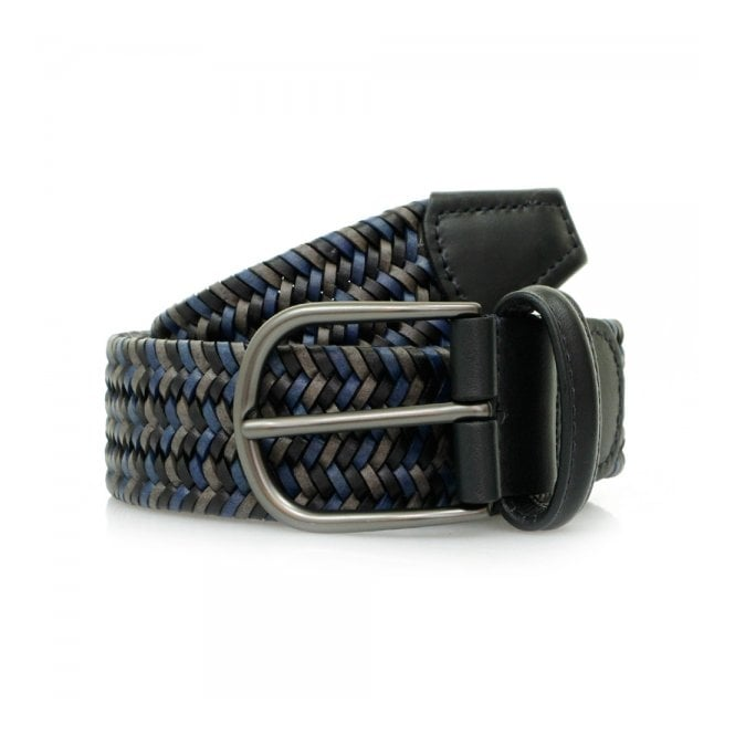 Anderson's Belts Anderson's Woven Navy Black Braided Leather Belt A/2915 PI51