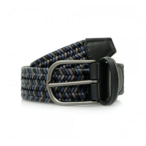 Anderson's Woven Navy Black Braided Leather Belt A/2915 PI51