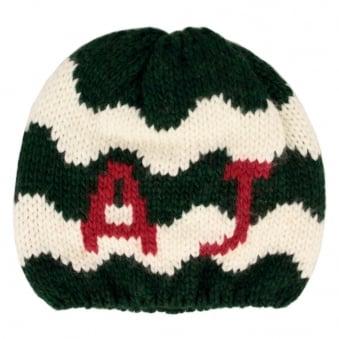 Armani Jeans Knit Gree White Beanie U6469