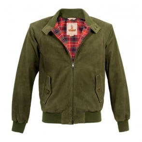 Baracuta G9 Original Military Green Suede Harrington Jacket BRCPS0046