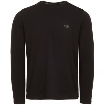 Black Long Sleeve Stretch Cotton T-Shirt