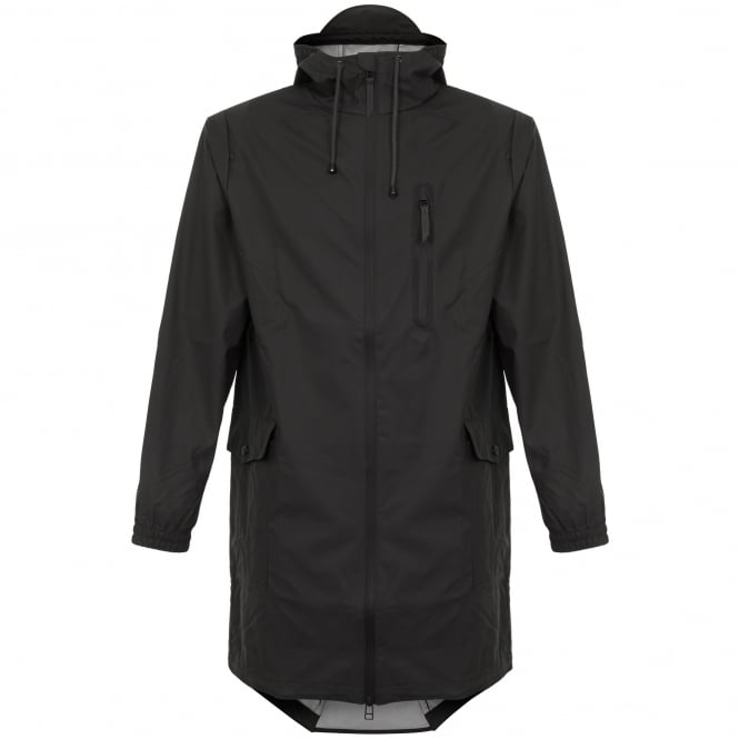 Rains Black Parka Coat