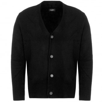 Black Sawal Wool Cashmere Shawl Cardigan