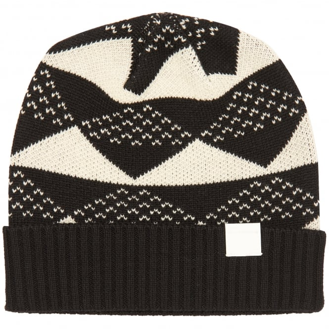 White Mountaineering Black Triangle Jacquard Knitted Beanie