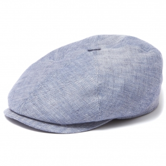 Blue Brooklin Linen Flat Cap