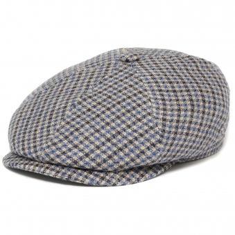 Blue Check 6 Panel Varysburg Flat Cap