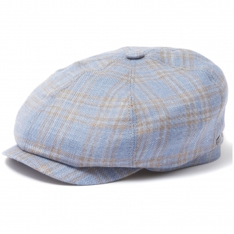 Blue Wide Check 6-Panel Newsboy Cap