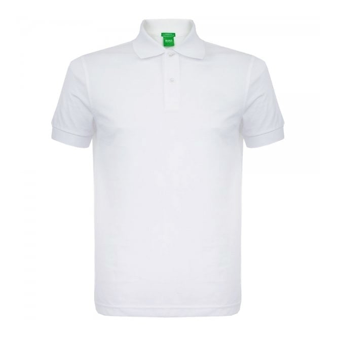 Boss Green C-Firenze Logo White Pique Polo Shirt 50292333