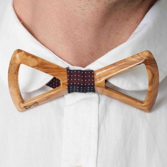 Burgundy Polka Dot Silk Wooden Bow Tie