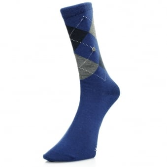 Burlington Edinburgh Dark Blue Wool Argyle Socks 21182 6051