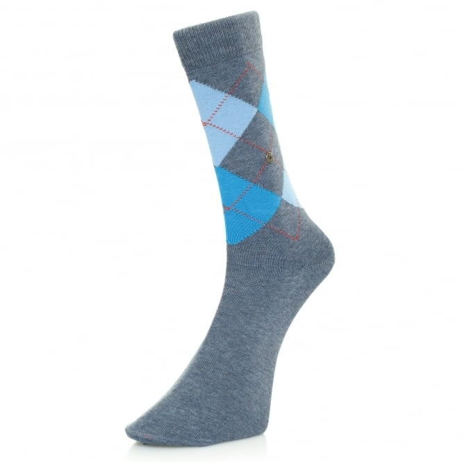 Burlington Socks Burlington King Light Denim Argyle Socks 21020 6660