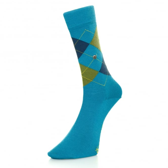 Burlington Socks Burlington Manchester Turquoise Argyle Socks 20182730T