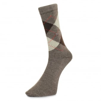 Burlington Preston Brown Argyle Socks 24284 5256