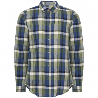 Classic-Fit Navy Check Patch-Pocket Shirt