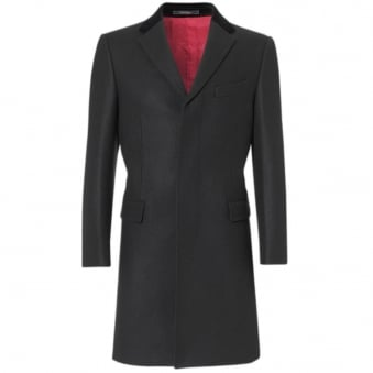 Crombie Black Retro Wool Coat 3254B