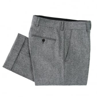 Crombie Herringbone Grey Trousers A0152TRBG