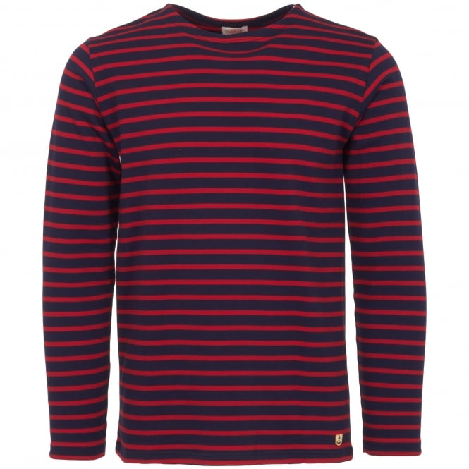 Armor Lux Dark Blue & Red Heritage Breton Shirt