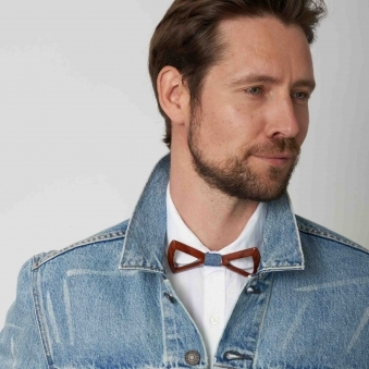 Denim Wooden Bow Tie