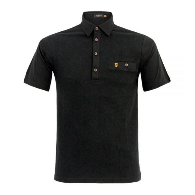 Farah Vintage Lester Black Polo Shirt F4KS4058