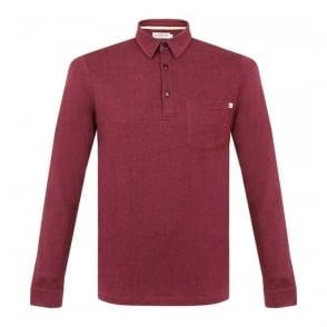 Farah Vintage Wallingham Deep Red LS Polo Shirt F9KF5020