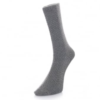Folk Light Grey Waffle Socks F25104A