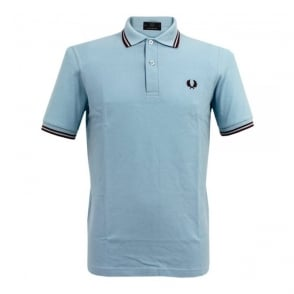 Fred Perry Laurel Twin Tipped Ice Blue Polo Shirt M12 400