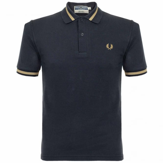 Fred Perry Laurel Wreath Fred Perry Single Tipped Navy Pique Polo Shirt M2 248