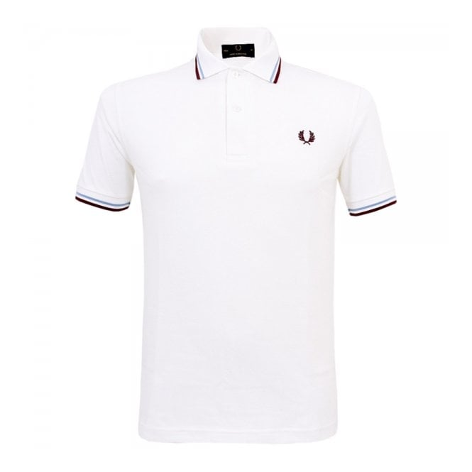 Fred Perry Laurel Wreath Fred Perry Twin Tipped White Polo Shirt M12 120