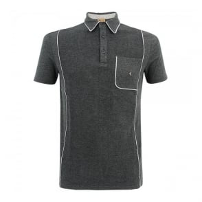 Gabicci Patterned Dark Grey Polo Shirt V33GX13