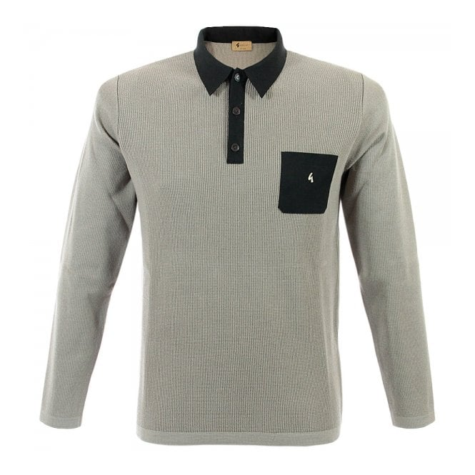 Gabicci Vintage 1973 Gabicci Vintage Knitted Stone Grey Polo Top GM10