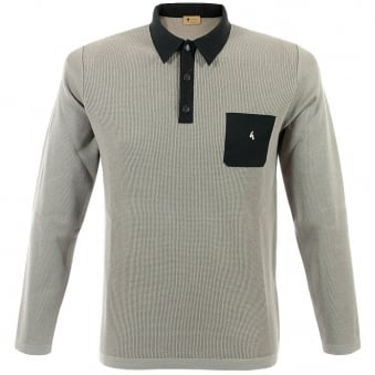 Gabicci Vintage Knitted Stone Grey Polo Top GM10