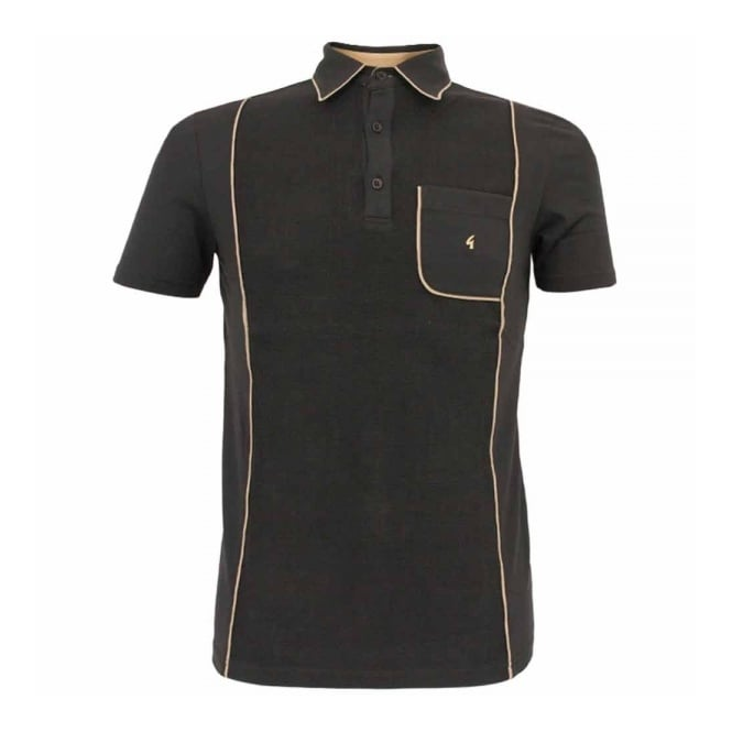 Gabicci Vintage 1973 Gabicci Vintage Piping Black Polo Shirt V31GX20