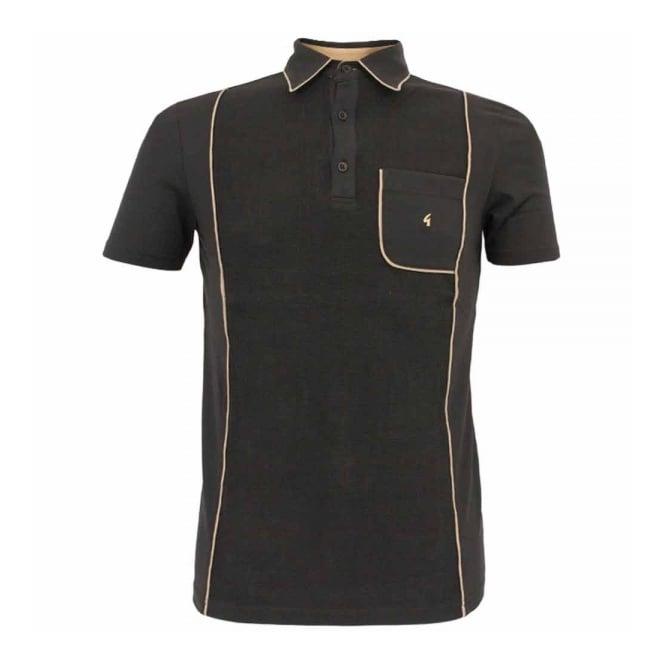 Gabicci Vintage 1973 Gabicci Vintage Piping Black Polo Shirt V31GX20