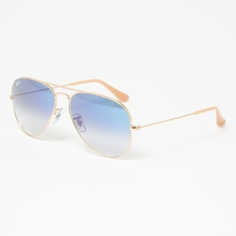 Gold Aviator Gradient Sunglasses - Light Blue Gradient Lenses