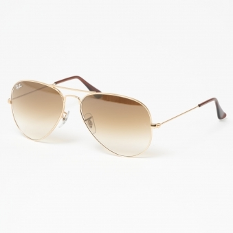Gold Aviator Gradient Sunglasses - Light Brown Gradient Lenses