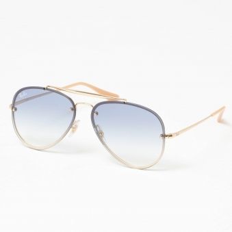 Gold Blaze Aviator Sunglasses - Light Blue Gradient Lenses