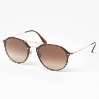 Gold Blaze Double Bridge Sunglasses - Brown Gradient Lenses