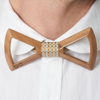 Gold Diamond Silk Wooden Bow Tie