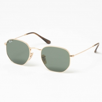 Gold Hexagonal Flat Lens Sunglasses - Green Classic G-15 Lenses